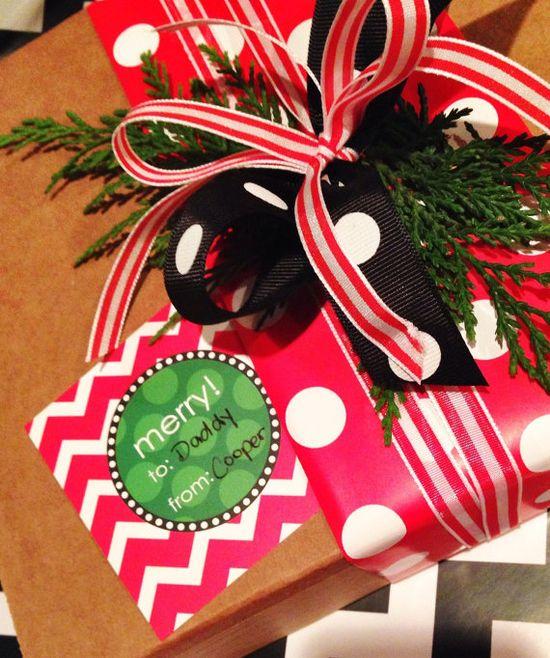 Chevron & Polka-Dot Christmas Gift Wrap, quick & easy gift wrap idea.