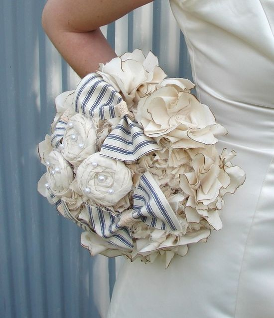 Bridal Bouquet. Country Wedding, Cotton Roses and Bows Fabric Bridal Bouquet