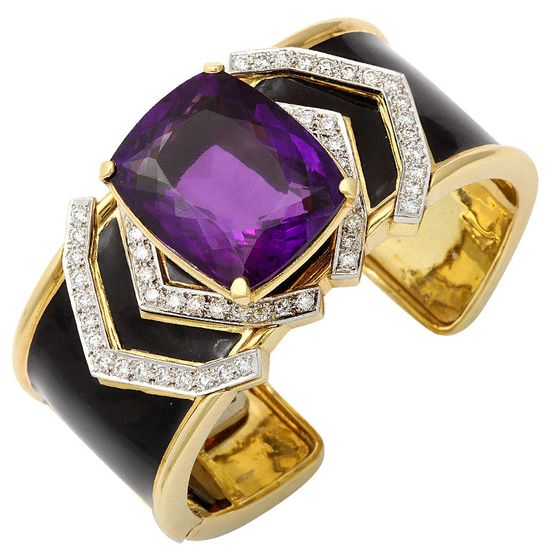 DAVID WEBB Amethyst & Diamond Enamel Cuff Bracelet in 18K Gold and Platinum