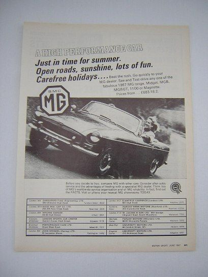 =-=Original MG Advert from 1967 - Sports Car Ad Advertisement Classic