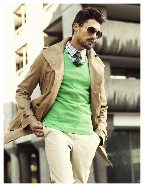 Men's #fashion - Spring 2012 - neutral colours plus a dash of bright colour