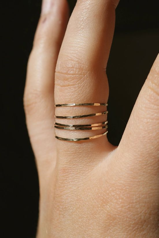 Ultra Thin Gold Filled stacking rings set of 5 by hannahnaomi,