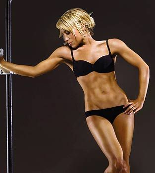 Tracy Anderson Method --                                     DO 3 REPS OF THE FOLLOWING:         50 crunches      20 squat jumps      1 minute plank      2 minute wall sit      30 side crunches, each side      20 roll- back- and- jumps      20 v- ups      150 calf raises; 90 regular, 30 right leg, 30 left leg    She has a nice body, but I'd like to be a little less muscular/manly