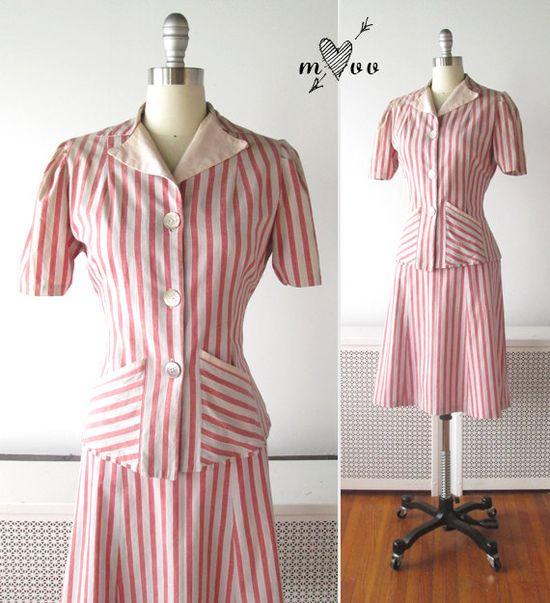1940s Dress Set // Candy Striped Cotton par myVintageValentine, $82.00