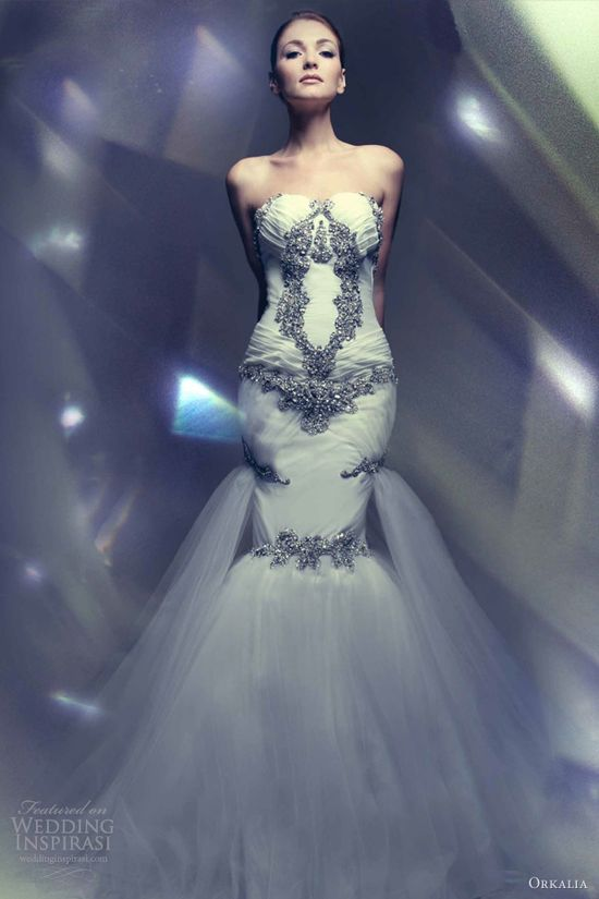 orkalia haute couture bridal 2013 strapless mermaid wedding gown