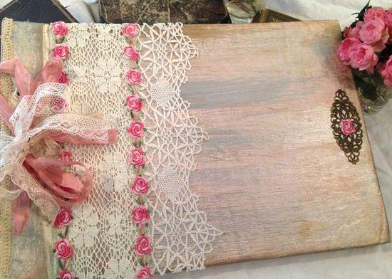 Wedding Photo Album - Pink rose shabby chic