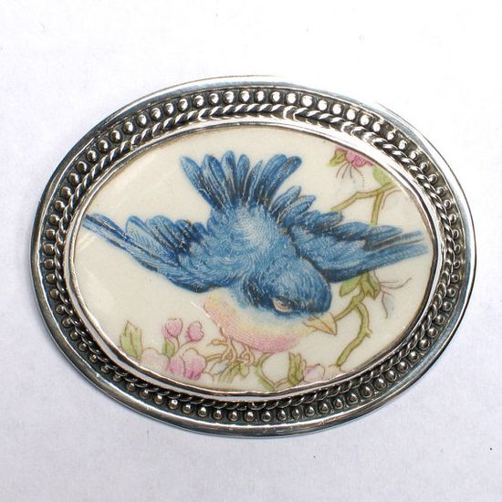 Vintage Blue Bird Broken China Jewelry Sterling by vbellejewelry