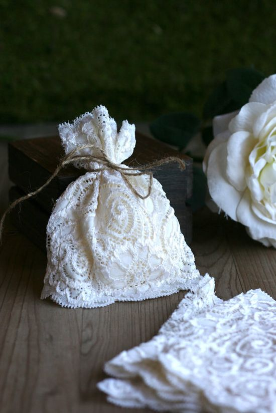 LaCe Wedding favor bags x50 Ivory lace rustic by kraftedheart, $72.50