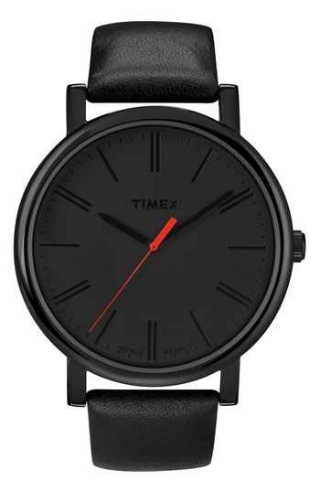 Timex® 'Easy Reader' Leather Strap Watch