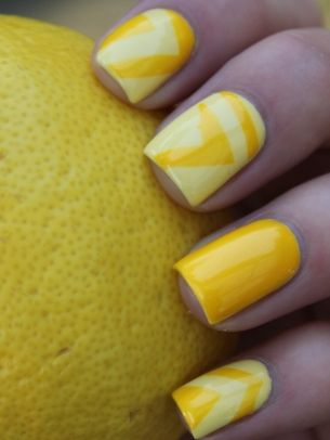 Yellow and White Chevron Manicure #Nails #fingernails #spring #summer #glamourgrail