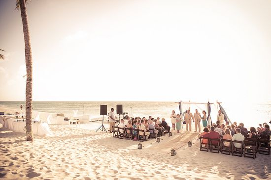 Beautiful beach wedding ceremony