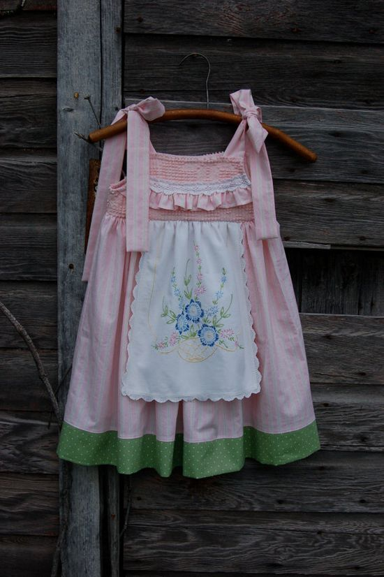 Dress made from vintage linens