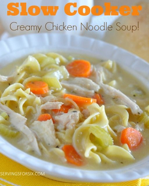Slow Cooker Creamy Chicken Noodle Soup #soups #crockpotsoups #slowcookersoups