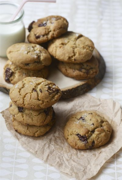 Salty Dark Chocolate Whole Wheat Chocolate Chip Cookies