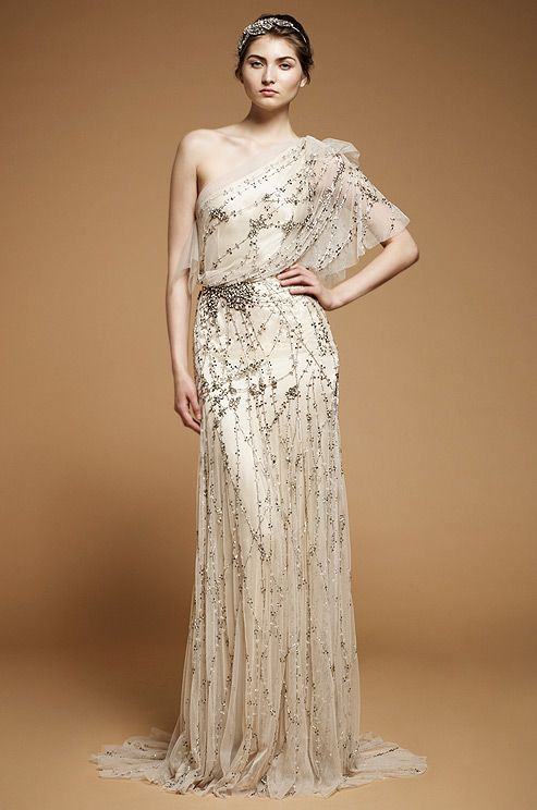 A light, airy draped wedding dress from Jenny Packham. #WouldYouWearIt