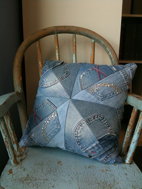 Adorable toss pillow from outgrown teen jeans in a quilt-block pattern.