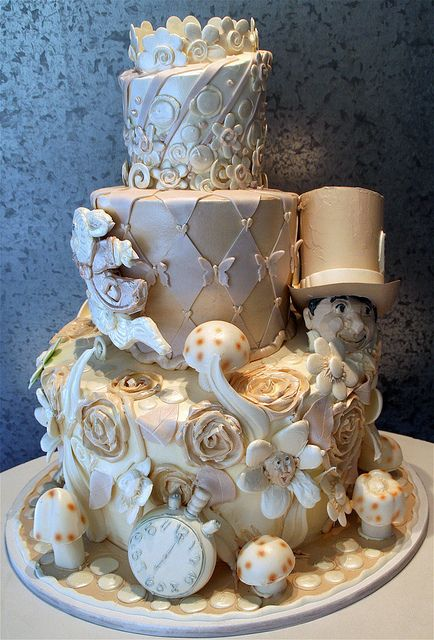 Tiered wedding cake, with Alice In Wonderland theme