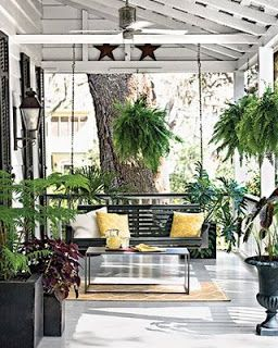 front porch ideas - big plants, porch swing, and simple coffee table