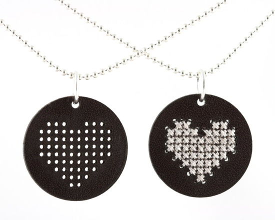 DIY Embroidered Leather Pendant with Shell Gray Heart - Cross Stitch Kit. $14.00, via Etsy.