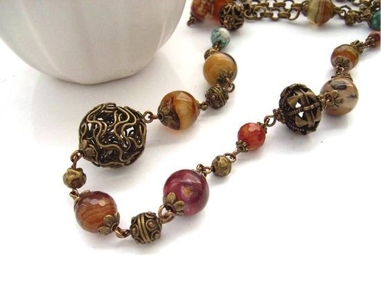 Necklace vintage style beads handmade