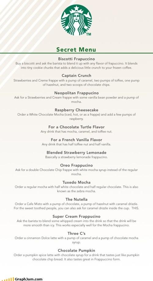 The secret starbucks menu...