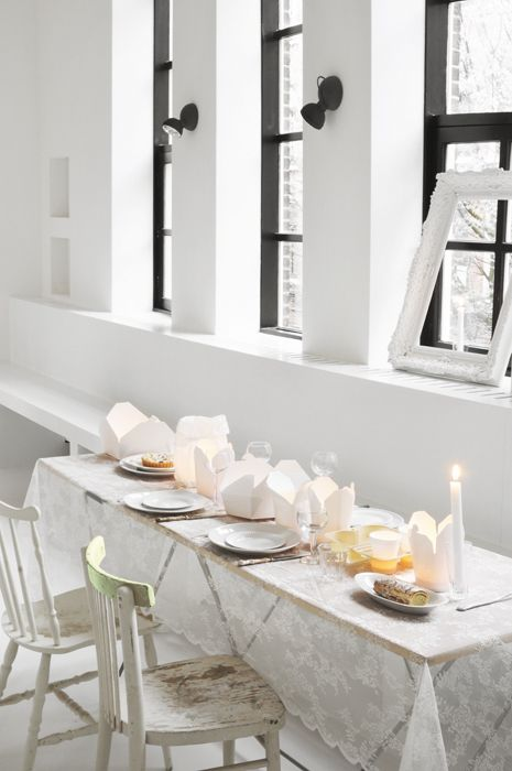 lace tablecloth, white dimension, loft-style dining