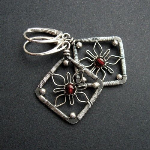 Flower Squares Earrings Wire Wrapping Jewelry by SilverDetails,