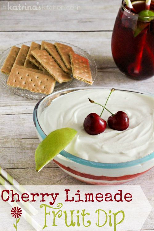 Cherry Limeade Fruit Dip...the perfectly sweet and tart dip for summer. Try it with fruit, graham crackers, or pretzel sticks!