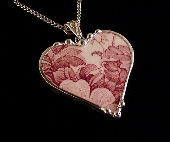 Antique cranberry or mulberry floral toile transferware broken china jewelry heart pendant necklace