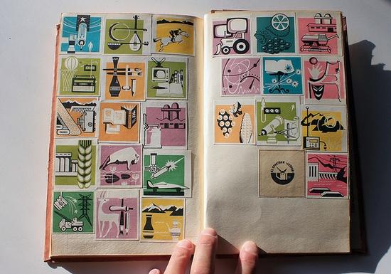the scrapbook found in Tajikistan, full of old Soviet graphics. Amazing!