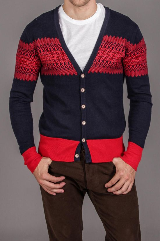 Red / navy cardigan
