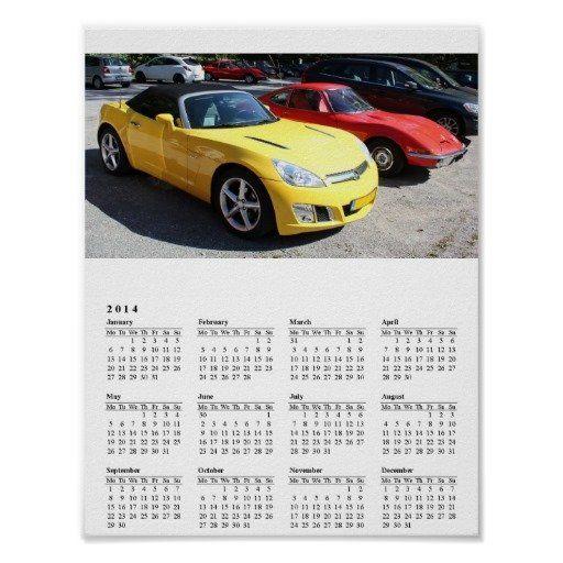 Opel GT Classic Sports Cars 2014 Calendar Poster