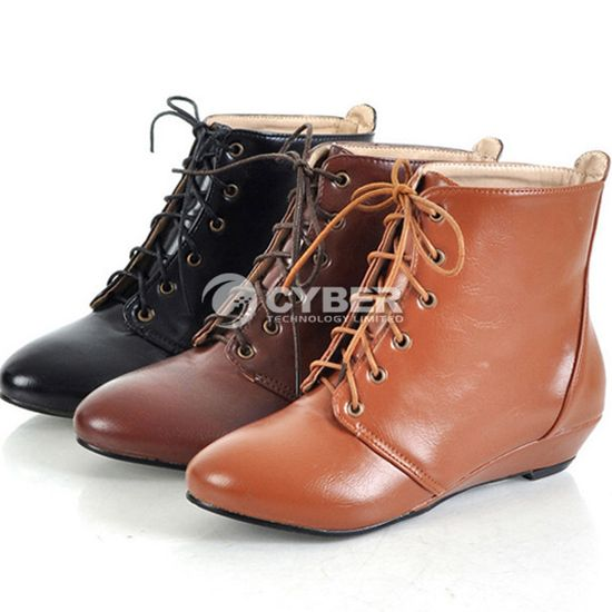 DZ88 New Fashion Lace Up Round Toe Women Leather Ankle Flats Boots Shoes Girl