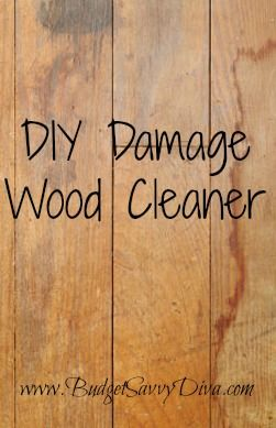 DIY Damage Wood Cleaner. With 1/4 cup oil and 3/4 cup vinegar, use a cloth and wipe it on your damaged or revived wood and make it look as good as new. (she used Jojoba oil) but you can use any oil that won't go rancid and has a long shelf life.