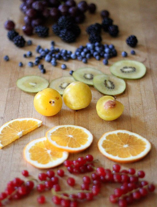 Gorgeous color + an intriguing recipe: Chakra Fruit Salad with Enlightened Tahini Sauce