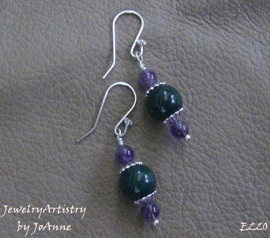 Jade & Amethyst  Genuine Handmade Earrings  by JewelryArtistry, $26.00