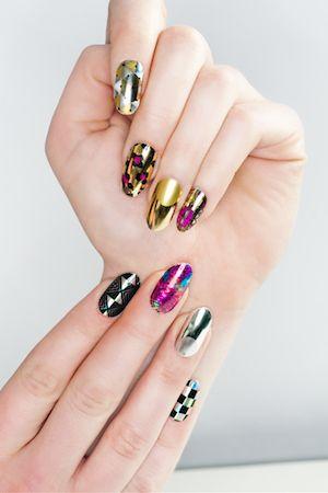 Multi-Colored Jester Metallic Nails. #metallic #menicure #nailart buzznet.com/~g93d533