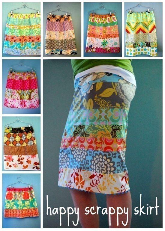 happy scrappy skirt-pdf-pattern. via Etsy.