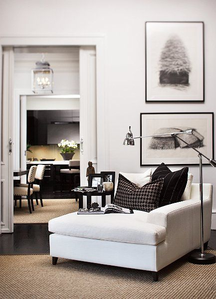Black, white, and brown living room vignette.