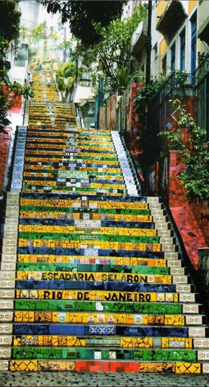 The colourful, tile-wrapped stairway of Santa Tereza at Manuel Carneiro street in Rio de Janeiro, Brazil • architect/artist: Escadaria Selarón