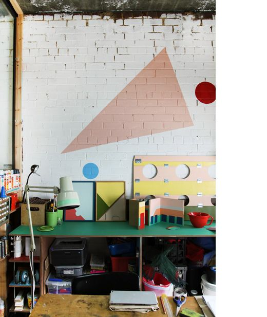 The workspace of Melbourne artist Esther Stewart via thedesignfiles.net