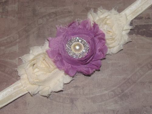 Vintage Handmade Fabric Flower Rhinestone Headband Bow for Newborn Baby or Girl
