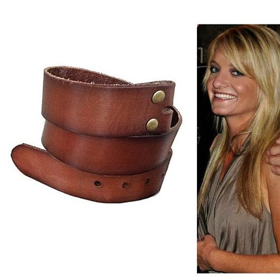 Vintage Style Brown Leather Snap Belt Strap by StaghoundBuckles, $34.00