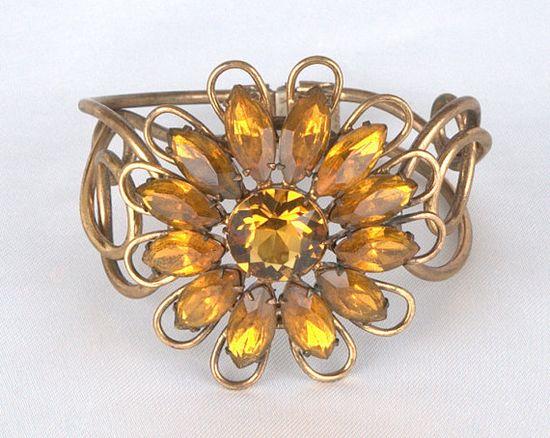 Amazing Vintage Golden Yellow Rhinestone Sunflower Clamper Bracelet #dteam