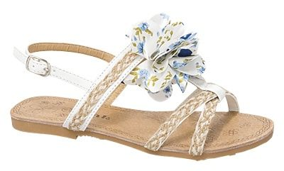 Kids' Slingback Flats Sandals White Floral Detail Woven Hemp Girls Fashion Shoes $16.95 @