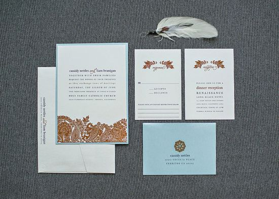 Blue and Chocolate Brown Romantic Wedding Invitation by LamaWorks