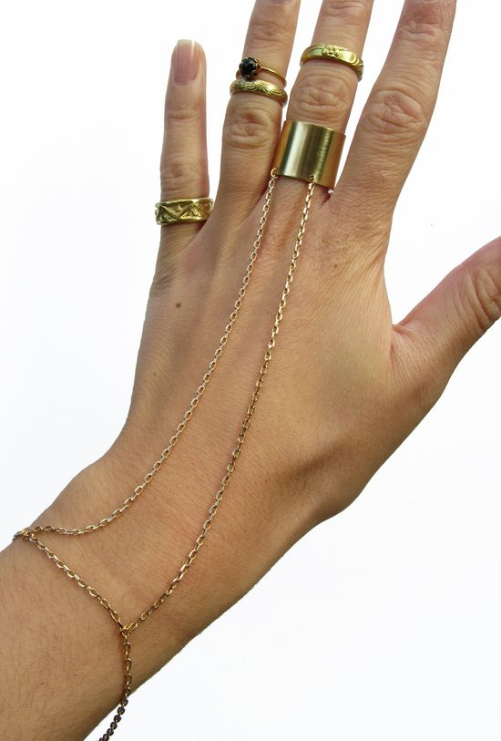 Gold Cuff Hand Harness, Ring and Bracelet
