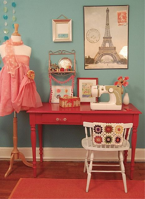Love the colors - pink desk & turq walls - craft room ideas