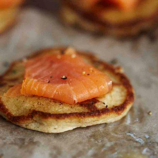 Buckwheat-Cheddar Blini with Smoked Salmon // More Quick Appetizers: www.foodandwine.c... #foodandwine