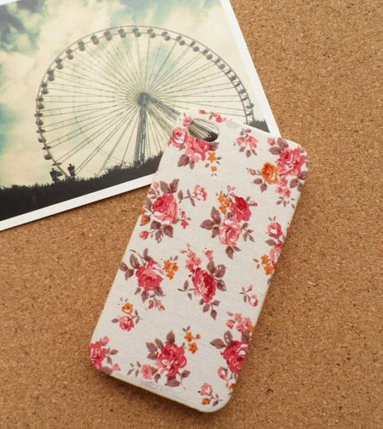 Floral iphone 4 case fabric iphone case iphone 5 case cloth iphone cases via Etsy